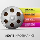 Movie infographics. 3d illustration of cinema clap and film reel, over white background Stock Images