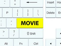Movie yellow keyboard button. Movie isolated on yellow keyboard button abstract illustration Royalty Free Stock Image