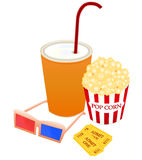 Movie Items. Vector illustration of popcorn in a red box,soda,tickets and 3D movie glasses isolated on white background Royalty Free Stock Photo