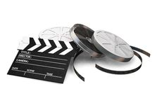 Movie items. 3D render of film reels and a clapper board on a white background Stock Photos