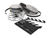 Movie items. 3D render of film reels and a clapper board on a white background Stock Image