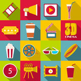 Movie items icons set, flat style. Movie items icons set. Flat illustration of 16 movie items vector icons for web Stock Image