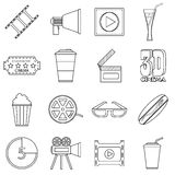 Movie items icons set, outline style Stock Photos