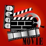Movie items. Vector illustration film reel on background Stock Photo
