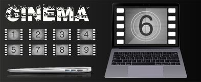 The movie on the laptop. Movie countdown numbers vector set. The countdown to the start of the old film. The movie on the laptop. Movie countdown numbers vector Stock Photos