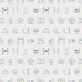 Movie line icon pattern set Royalty Free Stock Photo