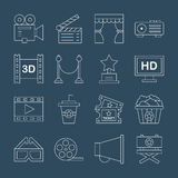 Movie line icon set Stock Images
