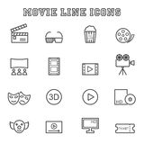 Movie line icons Stock Photo