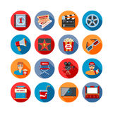 Movie Long Shadow Icons Royalty Free Stock Photo