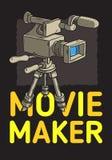 Movie Maker-Afficheontwerp met Geïsoleerde Videocamera op een Getrokken Schetsmatige Lijn Art Style van het Driepoot Artistieke B royalty-vrije illustratie