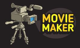 Movie Maker Design With Isolated Video Camera On A Tripod. Movie Maker  Design With Isolated Video Camera On A Tripod Artistic Cartoon Hand Drawn Sketchy Line Stock Image