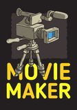 Movie Maker Poster Design With Isolated Video Camera On A Tripod Artistic Cartoon Hand Drawn Sketchy Line Art Style. Movie Maker Poster  Design With Isolated Royalty Free Stock Photography
