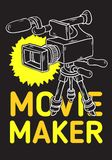 Movie Maker Poster Design With Isolated Video Camera On A Tripod Artistic Cartoon Hand Drawn Sketchy Line Art Style. Movie Maker Poster  Design With Isolated Royalty Free Stock Images
