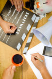 Movie making with clapperboard, megaphone and Stock Photo