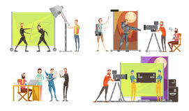 Movie Making Concept. With director actors at film set cameraman and sound engineer lighting  vector illustration Royalty Free Stock Photos