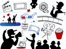 Movie-making, doodle set Royalty Free Stock Photo