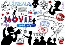 Movie-making, doodle set Royalty Free Stock Photography