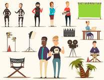 Movie Making Elements Set. Movie making set of flat doodle filmmaking shooting team characters pieces of theatrical scenery lighting equipment vector Royalty Free Stock Images
