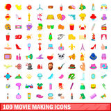 100 movie making icons set, cartoon style Royalty Free Stock Photo
