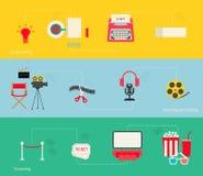 Movie making icons set Stock Photos