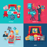 Movie Making Icons Set. Movie making and premiere icons set with 3d cinema film stars and director flat  vector illustration Stock Photography