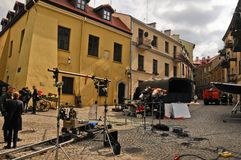 Movie making (Kamienie na Szaniec) in Lublin, September 20, 2013 Royalty Free Stock Photo