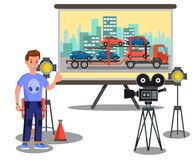 Movie Making Process, Film Set Flat Illustration vector illustration