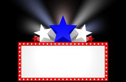Movie Marquee. Patriotic movie marquee with stars and lights Stock Photos