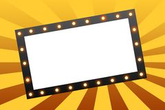 Movie Marquee. Blank movie marquee sign on star burst background royalty free illustration