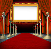 Movie Marquee Sign. Movie and theatre marquee blank sign with elegant velvet curtains and a red carpet with gold barriers roped off and a billboard in lights as vector illustration