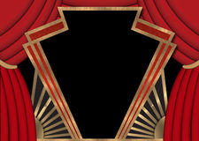 Movie Marquee. Movie Theater Marquee with Red Curtains vector illustration