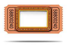 Movie Marqueee Ticket. Movie marquee ticket with blank copy space as a Hollywood theater and cinema concept with a glowing group of lights on a sign frame as a stock illustration