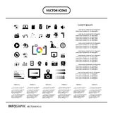 Movie and media icon set. Movie and media vector icon set Stock Image