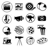 Movie And Media Icons Set. Vector illustration of black movie and media icons set on white background Stock Images