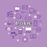 Movie minimal outline icons Royalty Free Stock Photos