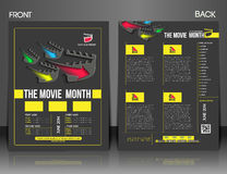 The Movie Month Flyer. The Movie Month Front & Back Flyer Template Stock Image