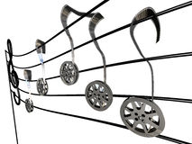 Movie Music. Several film rolls like notes on a musical score Royalty Free Stock Images