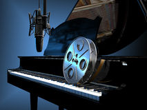 Movie Music. A film roll on the keyboard of a piano, and a studio microphone, symbolising the movie music, soundtracks or scores stock illustration