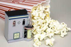 Movie Night. Movie house with bag of popcorn and kernels Royalty Free Stock Images