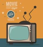 Movie night card televison device vintage. Vector illustration Royalty Free Stock Photography