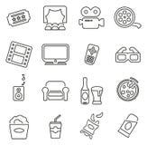 Movie Night or Cinema Night Icons Thin Line Vector Illustration Set Stock Images
