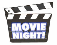 Movie Night Clapper Board Entertainment Film Watching. 3d Illustration Stock Photo