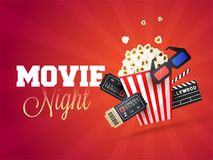 Movie night concept.Creative template for cinema poster, banner. With ticket, 3D glasses, clapboard, and popcorn Royalty Free Stock Photography