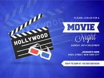 Movie night concept.Creative template for cinema poster, banner. With 3D glasses, and clapboard Royalty Free Stock Image