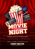 Movie night concept. Creative template for cinema poster, banner. With ticket, 3D glasses, clapboard, therater curtains, and popcorn Stock Photos