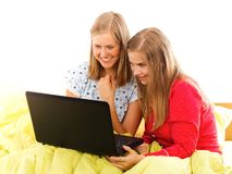 Movie Night. Girls's movie night - girlfriends having fun together Royalty Free Stock Photography