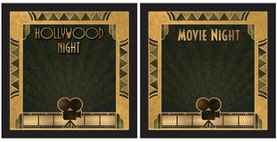 Movie Night Hollywood Night Invitation. Movie Night or Hollywood Night Art Deco Party Invitation Stock Images