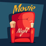 Movie night. Home cinema watching. Cartoon vector illustration. Red sofa. Web, banner and logo design. Popcorn, cola and 3d glasses. Vintage style. Food and Royalty Free Stock Image