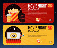 Movie Night Horizontal Banners. Movie horizontal banners presented cards for night cinema viewing event flat vector illustration Stock Images