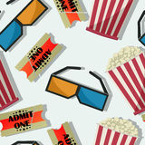 Movie night pattern. Seamless cinema pattern with tickets, glasses and popcorn Stock Images